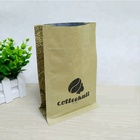 Recyclable Kraft paper bag with valve coffee bean packaging square bottom zipper pouch