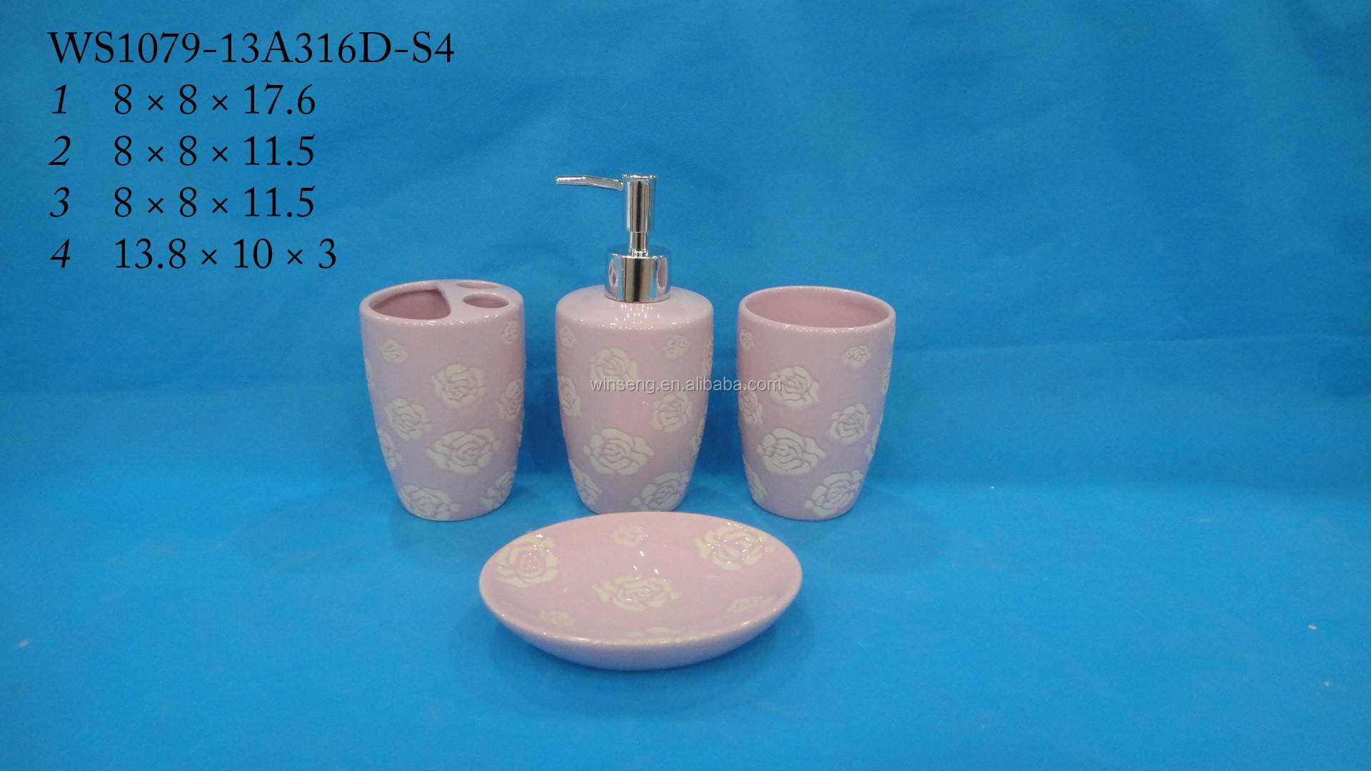 Ceramic pink rose hotel collection bath accessories set