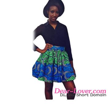 aecd22079fa0cf Hot Koop Fashion Groenachtig Print Skater Afrikaanse Stijl Sexy Meisje Mini  Rok