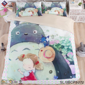 100% cotton bedding sets Totoro cartoon painting four piece sets dormitory  bed cotton sheets d297acc42