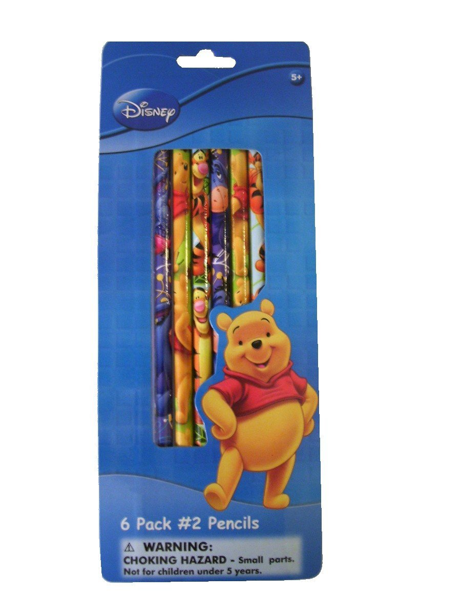 Disney Winnie the Pooh and Friends #2 Wood Pencils 6 to a Pack, Pooh, Tigger and Eeyore