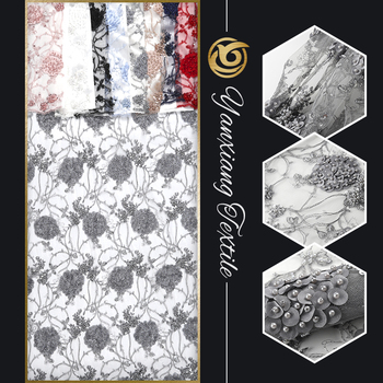 In-Stock Items factory supply fashion 3d silver mesh lace pearl beaded embroidery flower fabric