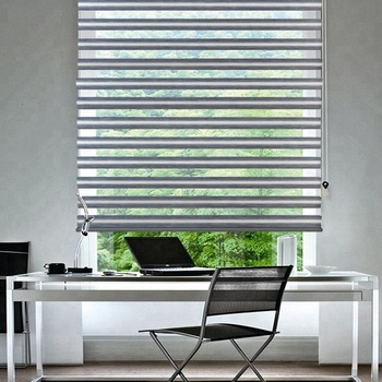 Keewo motorized zebra roller shades blinds window curtain drape Dual Layer sheer or privacy