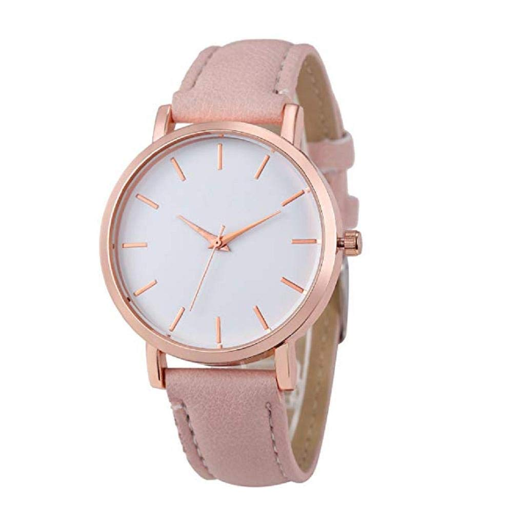 Women Quartz Watches,Windoson Unique Analog Fashion Clearance Lady Watches Female Watches Casual Watches for Women,Round Dial Case Comfortable PU Leather Watch (Pink)