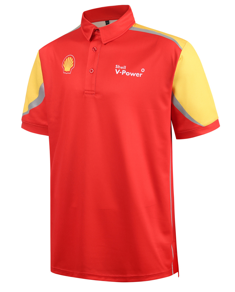 design mens sublimated polo t-shirt with printed reflective tape