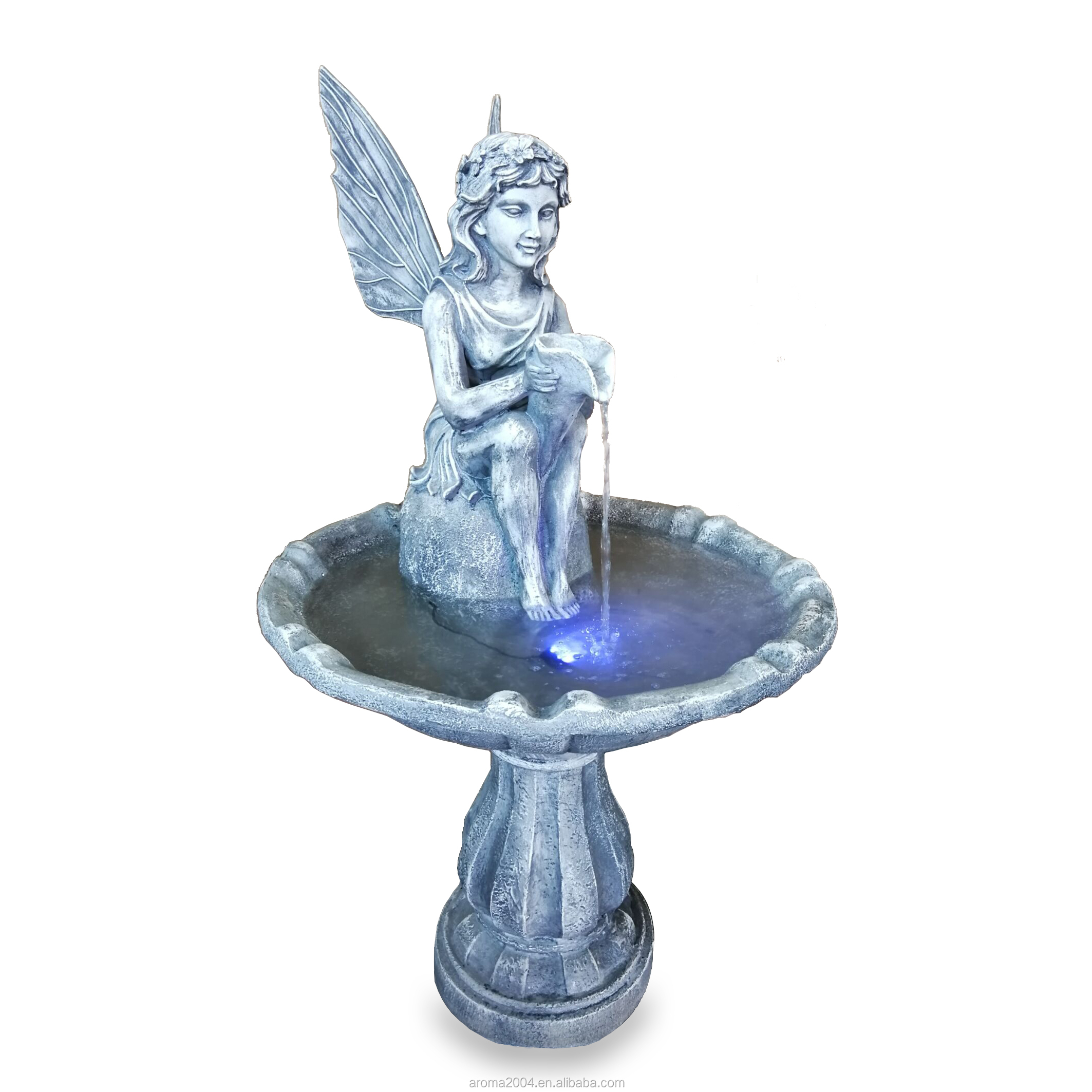 outdoor decor boy and girl statue garden waterfall fountain
