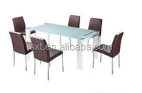 Bazhou modern glass dining tables set
