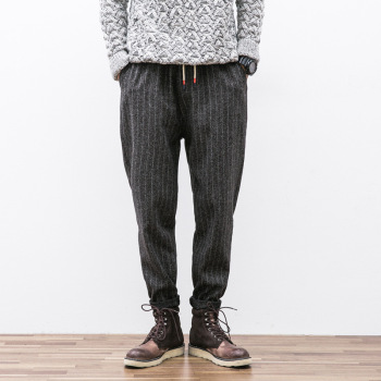 MS70915G Full stripe printed men's elastic waist pants