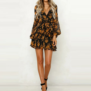 Latest Design Morden Sexy Short Dress Printed Lady Long Sleeve Chiffon Beach dress