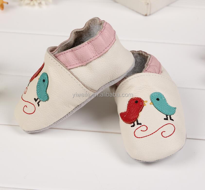 custom made beige soft leather embroidered birds baby shoes baby boy gril slippers