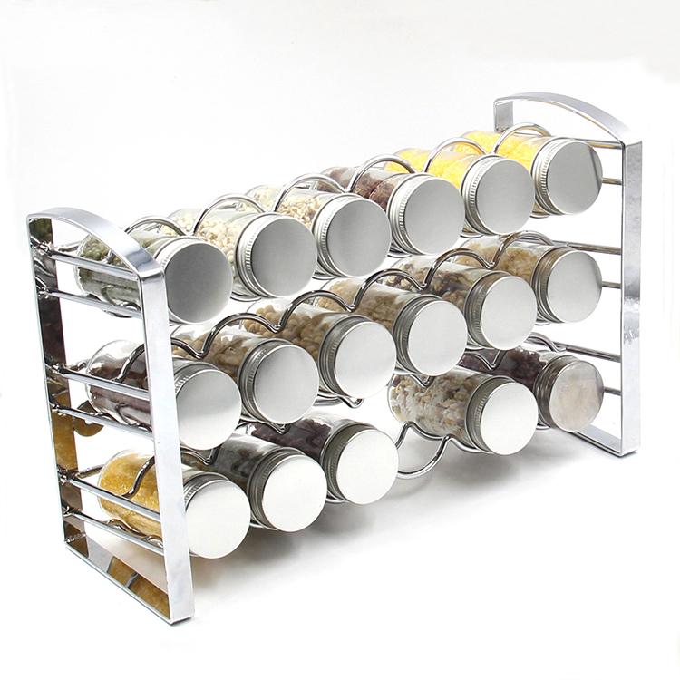 חמה למכירה מטבח אחסון מדף תבלינים תבלינים עם בקבוק זכוכית מתכת 3 Tier מתכת