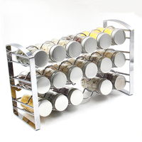Hot sale Kitchen Storage Spice Rack Metal 3 Tier Metal Spice with Glass Bottle