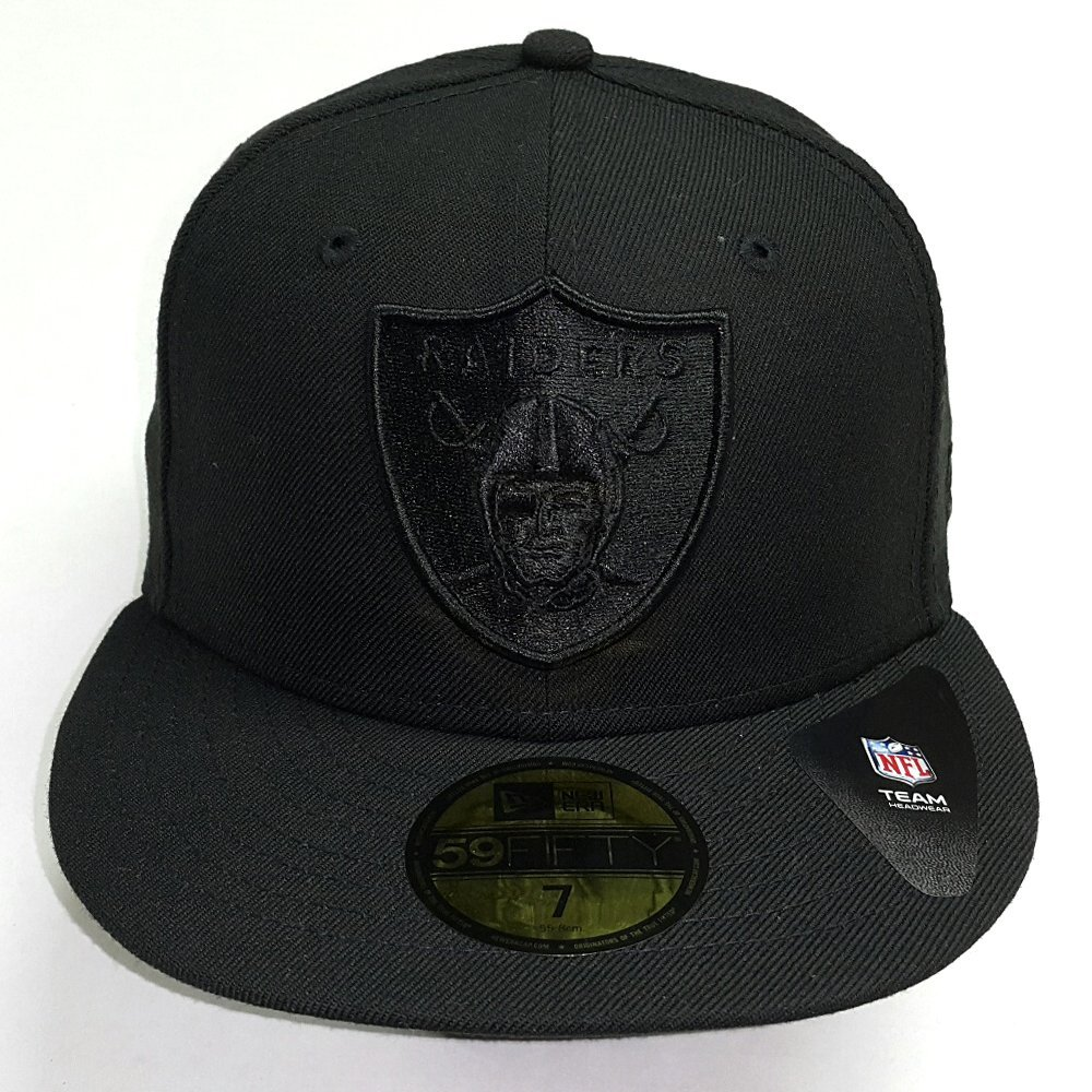 3eac97511b9 Get Quotations · New Era NFL Oakland Raiders All Black Shield Logo Fitted  Cap 59Fifty NewEra