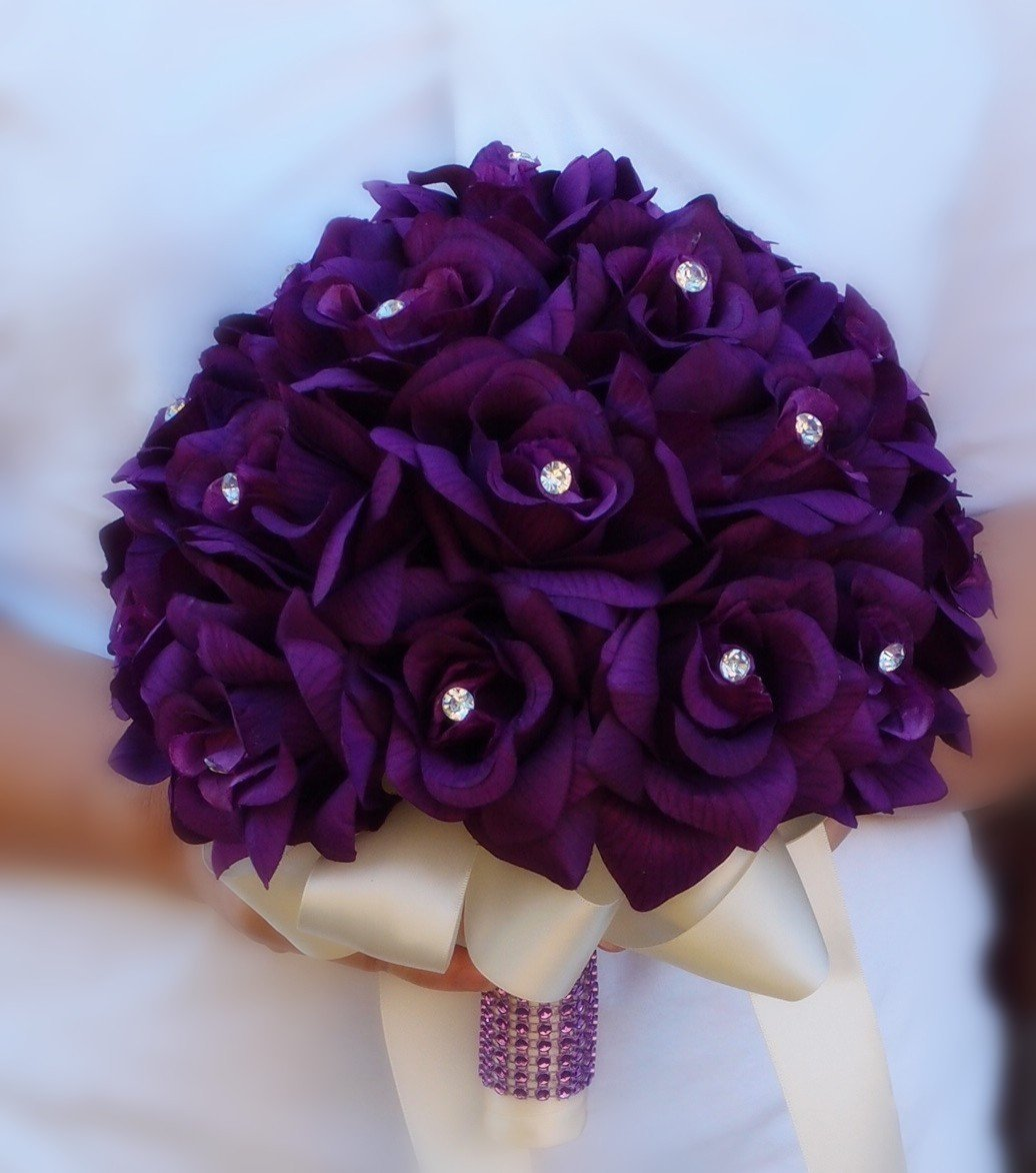 Cheap red and purple flower bouquets find red and purple flower get quotations 2 wedding bouquets bridal flower girl toss purple lavender wedding flower izmirmasajfo