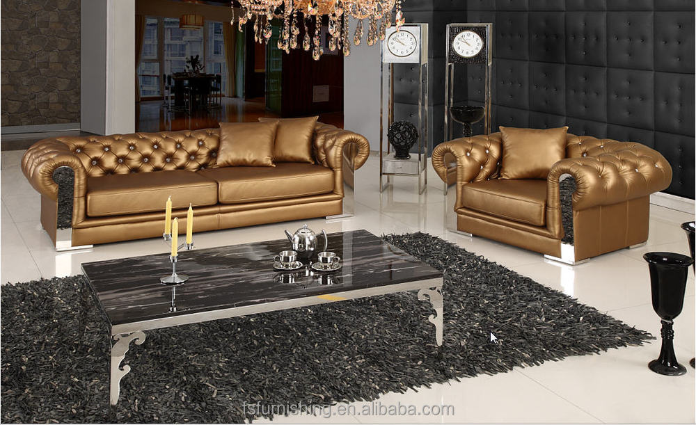 Jr308 modern contemporary white gold color genuine thick - Sofa para salon ...