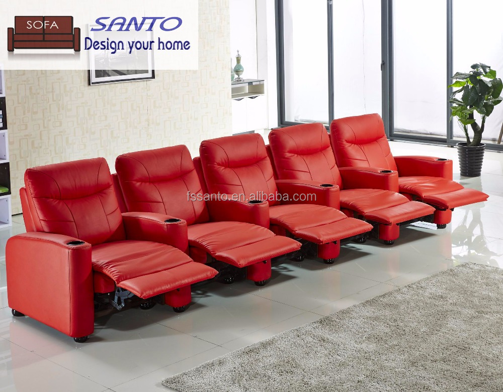 Theater recliner leather <strong>sofa</strong>