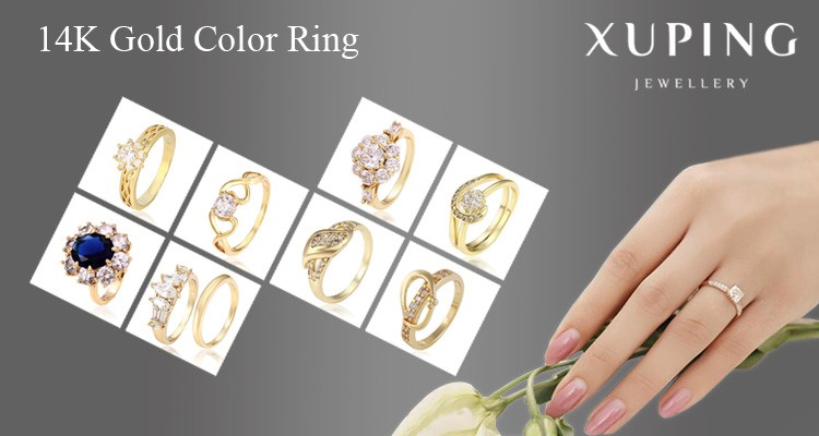 15389 Xuping handmade imitation plastic bead designs indian gold finger ring jewelry