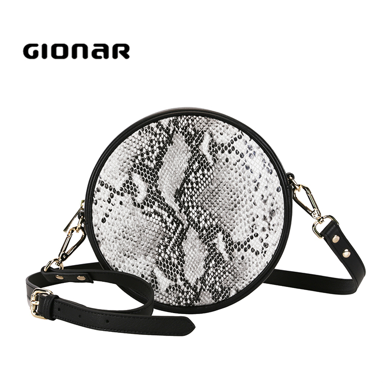 Gionar OEM Quality Fashion and New Design Snake Pattern Round Crossbody <strong>Bag</strong>