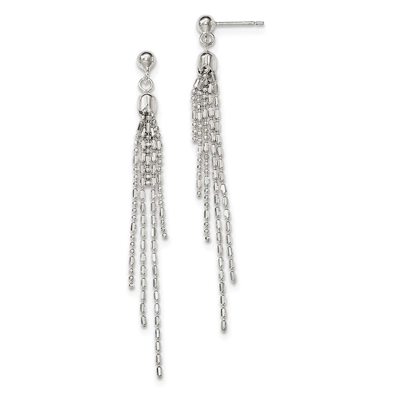 .925 Sterling Silver Fancy Multi-strand Dangle Post Earrings