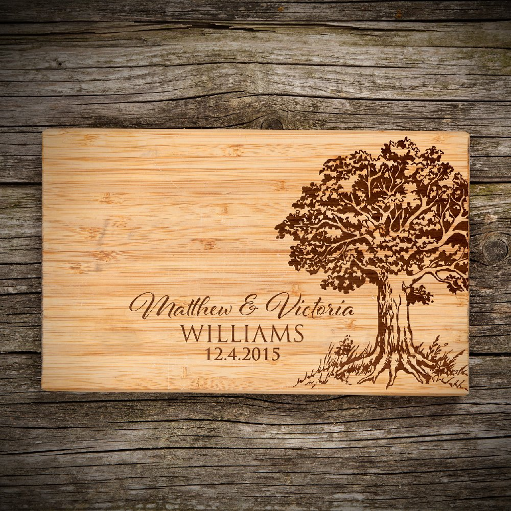 "P Lab Personalized Cutting Board, Custom Engraved Natural Wood Cutting Board, Christmas Gift, Wedding Gift, Anniversary Gift, Housewarming Gift, Corporate Gift (6"" x 9 1/2"") Small Sol. Rectangular #L"