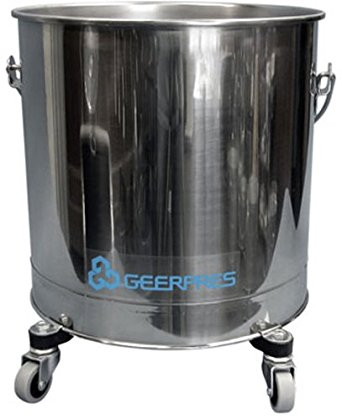 "Geerpres 2221 Heavy Duty Stainless Steel 304 Round Bucket On 2"" Casters, 14-3/4"" Diameter x 17"" Height, 8 gallon Capacity"