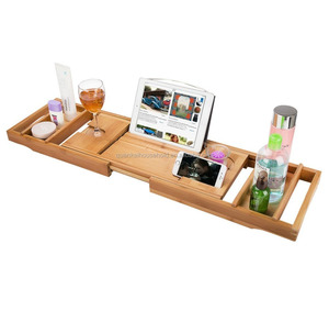 Luxury Bamboo Bathtub Caddy Tray with Extending Sides, Reading Rack, Tablet Holder and Wine Glass Holder