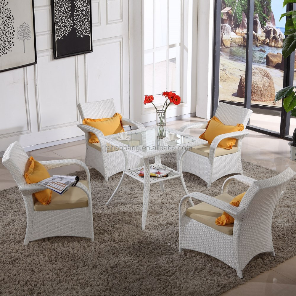 Outdoor Plastic Resin Wicker Rattan White Dining Table And