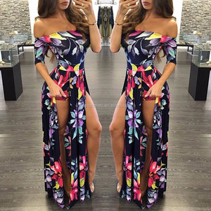 20167 Europe and the United States new sexy floral dress in summer night club tight dress