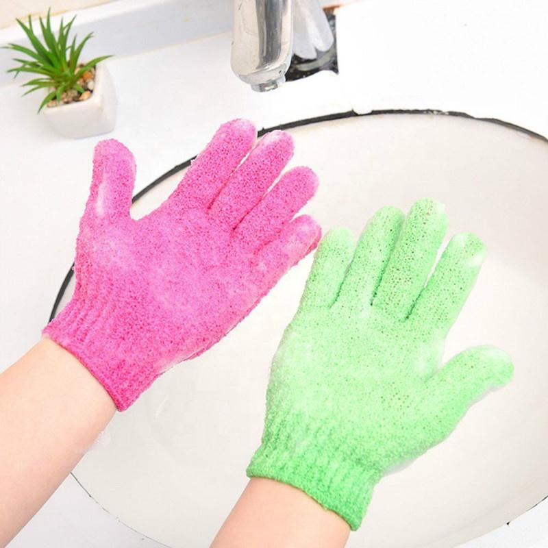 Fashion Body Scrub Exfoliating Natural Nylon Shower Bath Gloves
