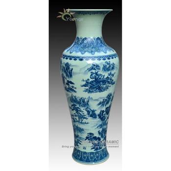 1 Meter Tall Blue White Porcelain Crackle Glazed Floor Flower Vase