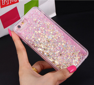 High Fashion Floating Stars TPU Bling Bling Moving Liquid Phone Case Silicone Liquid Glitter Phone Case for Iphone 6 7 8 X