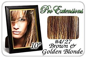 "10"" Inch #4/27 Brown w/ Golden Blonde Highlights Pro Extensions Human Hair Extensions"