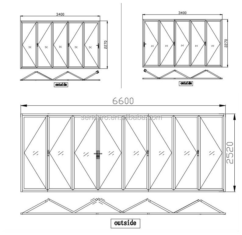 Patio Door Cad Drawing: Exterior High Rise Aluminum Balcony Folding Patio Glass
