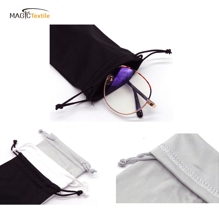 customized mini eyewear bag microfiber sunglasses eye glasses drawstring pouch for packing