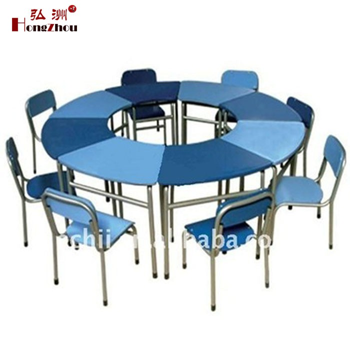 Round Plastic Table and Chair Used School Furniture for Sale