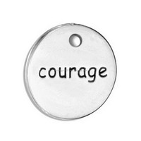Antique Silver Tona Alloy Metal Courage Message Round Tags Pendants Accessories