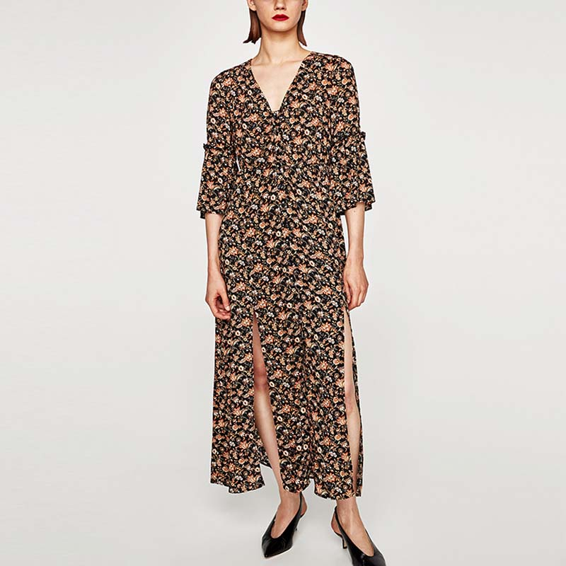 New trends mexican print long sleeve wrap sexy slit floral maxi dress