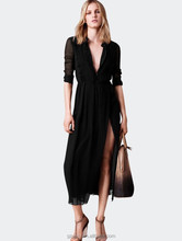 Ladies deep V neck long sleeve sexy long black dress with split