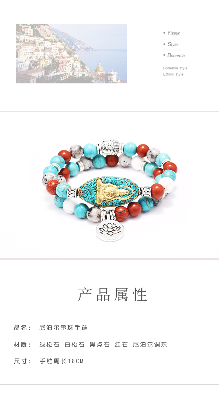India copper alloy hinduism symbol buddha charm turquoise beaded bracelet,lotus pendant charm beaded bracelet