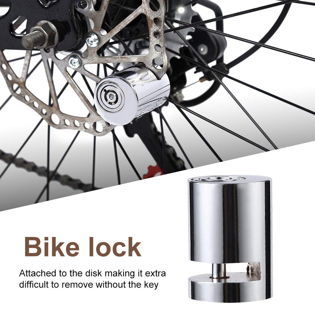 Motorcycle Bike Disc Brake Lock EFORCAR Anti-Theft Ultra 110db Alarm Bicycle Brake Disc Wheel Security Lock for Scooters Motorbike Silver