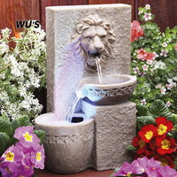 solar resin Lion statue water fountain decoration garden lights outdoor