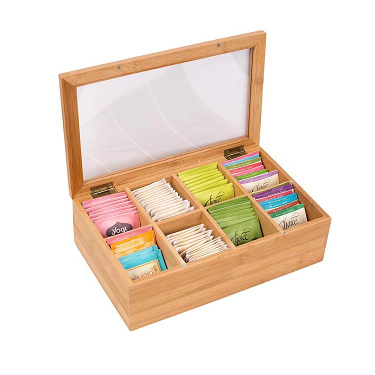 Wooden Gift Tea Bag Storage Box Organizer Bamboo MSL Details 3