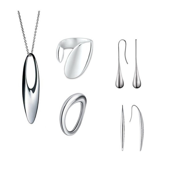 Best Sellers 316L Stainless Steel Jewelry Set Silver Necklace Earrings Rings Manufacturer For Women