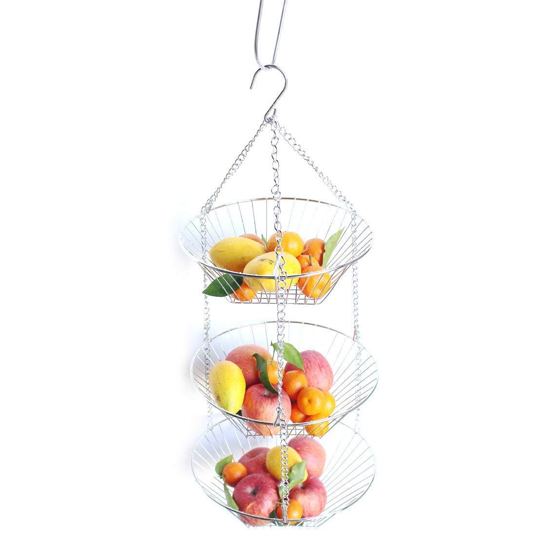 Get Quotations Lingxuinfo 3 Tier Wire Hanging Basket Fruit Flower Storage Vegetable