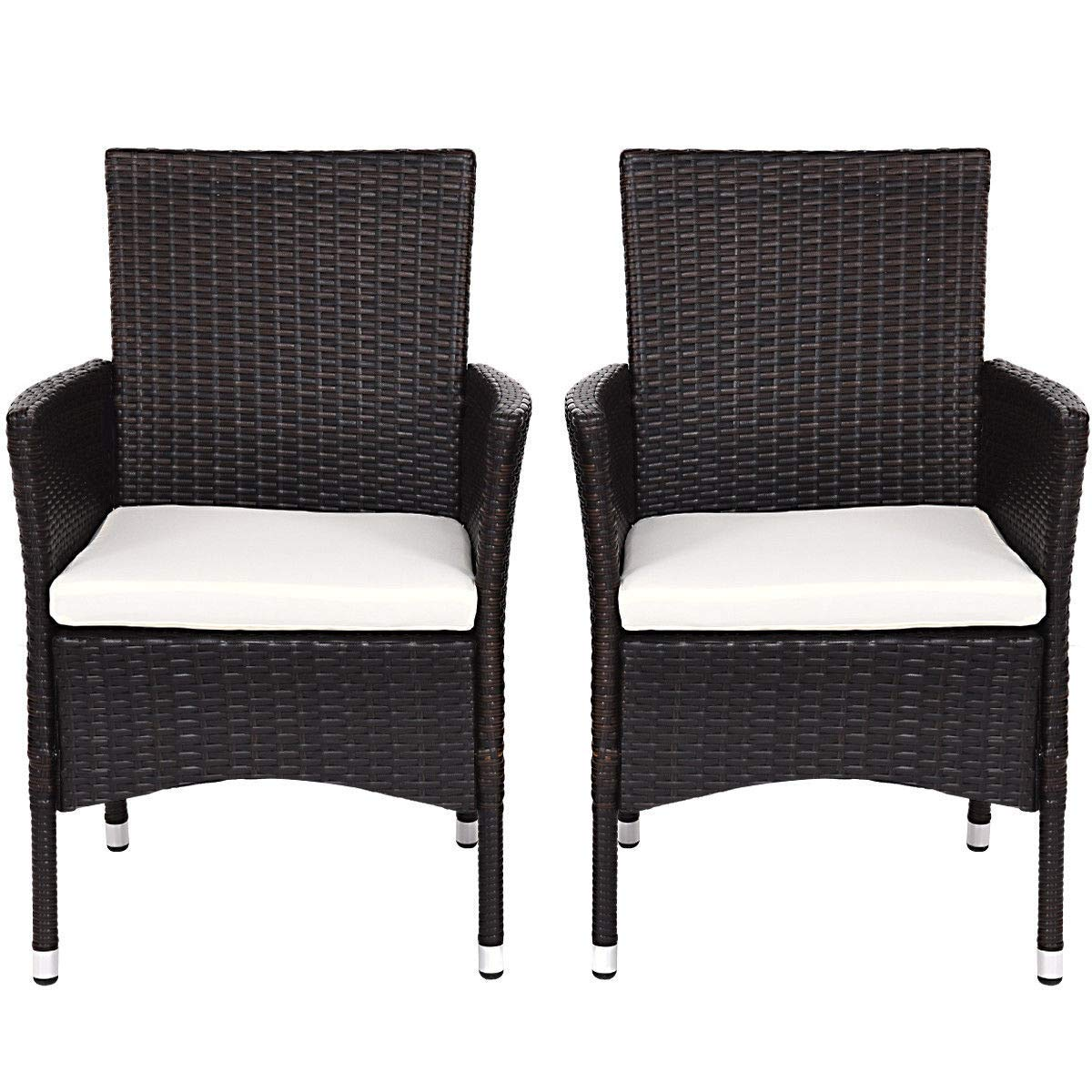 KCHEX>2PC Patio Rattan Wicker Dining Chairs Set Mixbrown with 2 Set Cushion Covers>This is Our Rattan Single Armchair Set which Will add a Touch of Modern Elegance to Your Home,Patio, balco