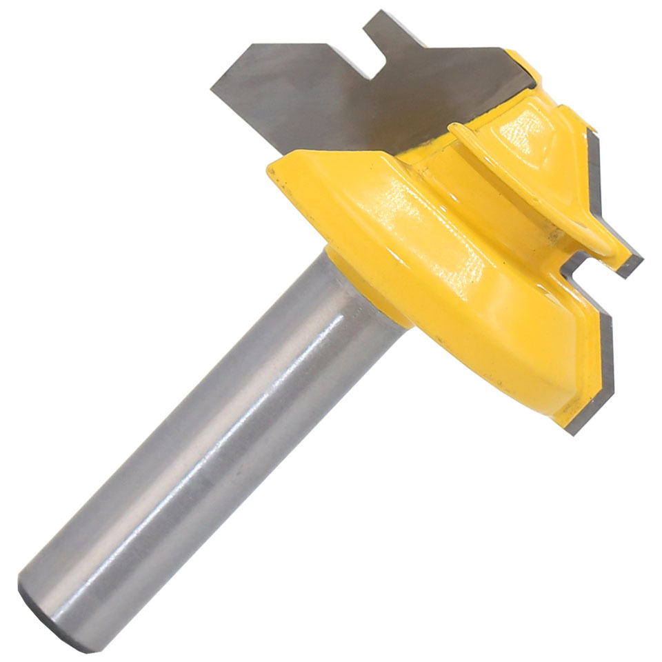 1Pc 45 Degree Lock Miter Router Bit 8*1-1/2 Inch Shank Woodworking Tenon Milling Cutter Tool Drilling Milling For Wood <strong>Carbide</strong>