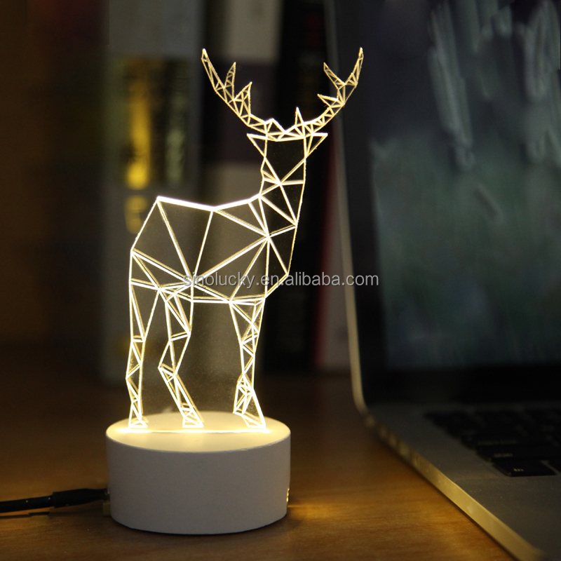 Led Usd Wood Base Etched Battery Operated Multicolored