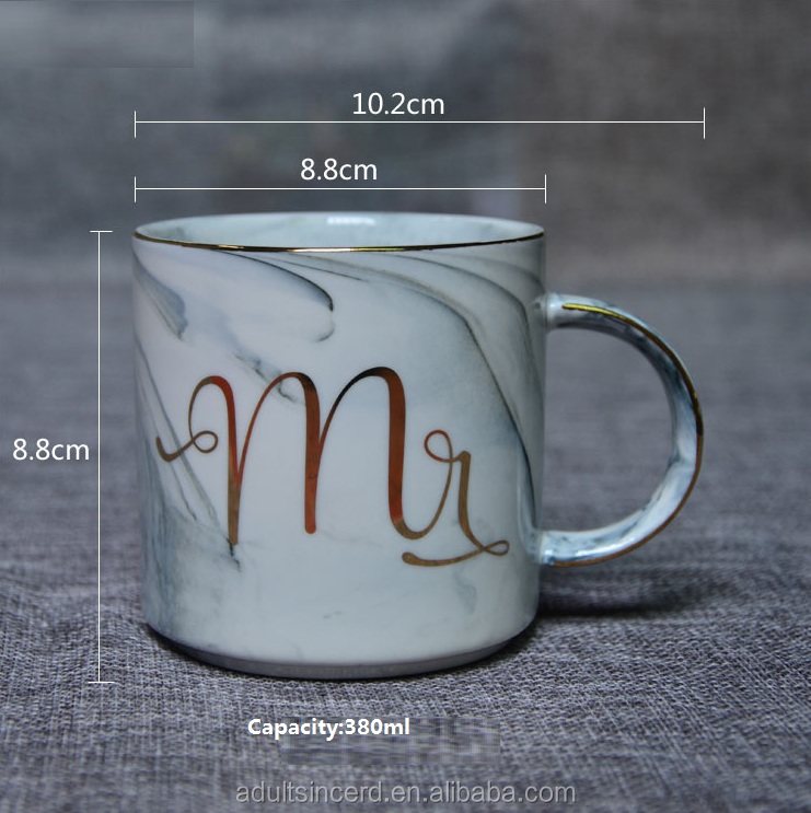 Gold Marble Ceramic Cup Gold Letter MRS. MR. marble Mug Breakfast Milk Cup,blue coffee mug,couple custom valentines day mug
