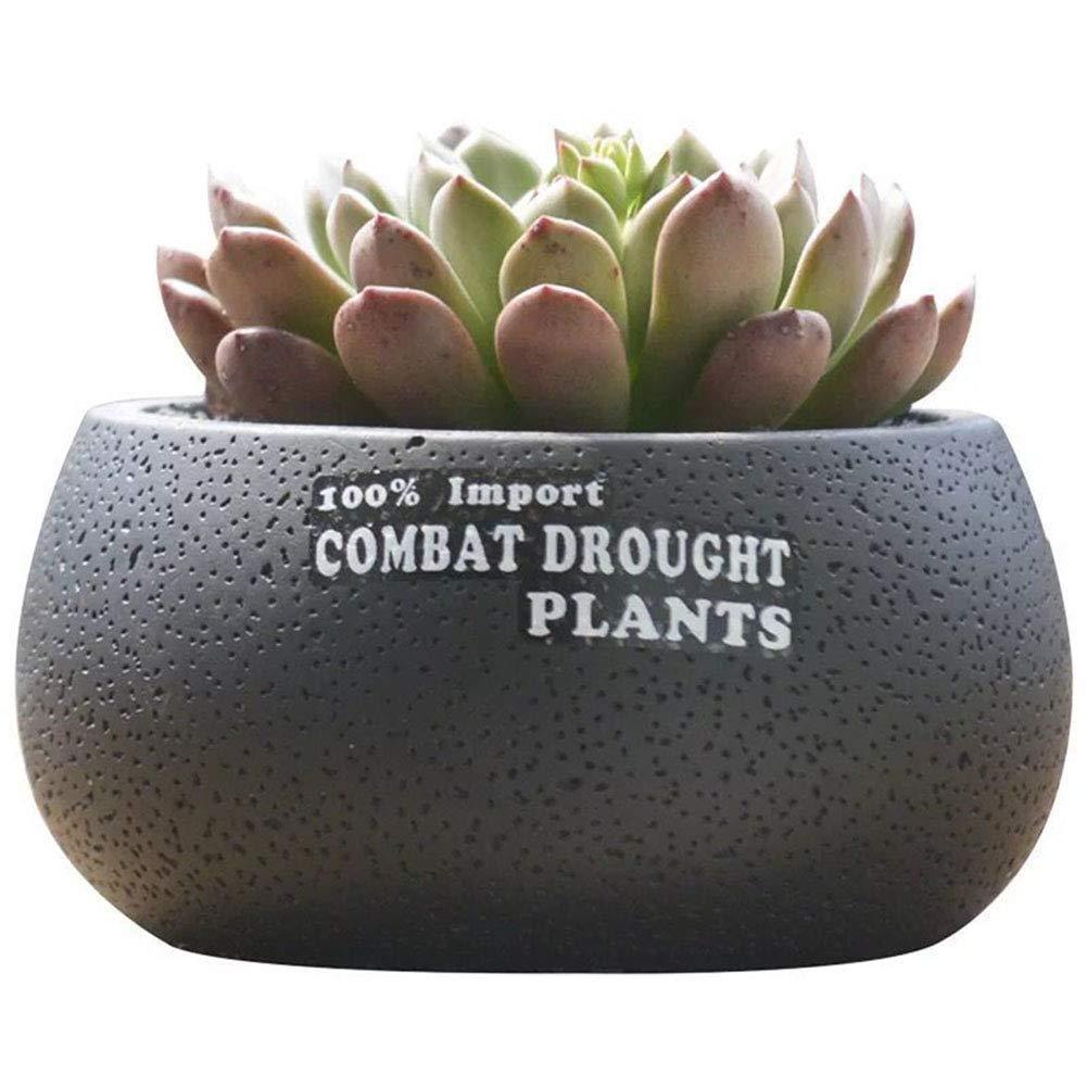 Grandma's Story Flower Pot, Round Cement Succulent Plant Pot/Cactus Plant Pot Container Planter