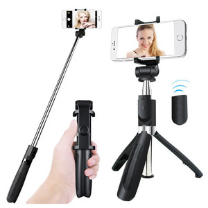 All in 1 compact stainless steel travel selfie stick tripod for smartphone blue tooth remote control
